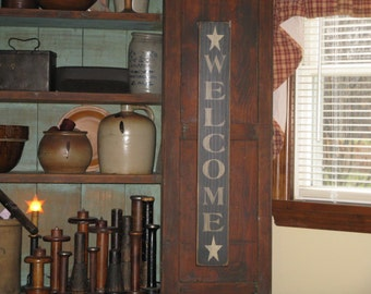 Handmade Vertical Welcome with stars primitive, rustic, wooden country sign for the the porch, entry way and, home.