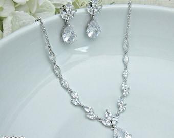 CZ Jewelry Set, CZ Swarovski Crystal Wedding Necklace Set, bridal jewelry, wedding jewelry, zircon, cz jewelry set, Julianna Jewelry Set