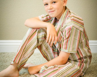 Thick Stripes Spring / Summer Button Down Pajama
