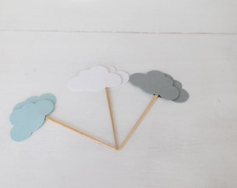 Blue, White, and Grey Cloud Cupcake Toppers- Baby Shower Decor, Cloud Baby Shower, Party Decor- Birthday Decor