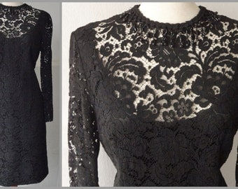 50s Vintage Black Lace Dress // Size M