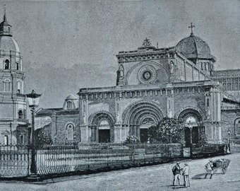 Manila cathedral. Architecture engraving. 1890 book plate. 127 years lithograph. 12'5 x 8'4 inches.