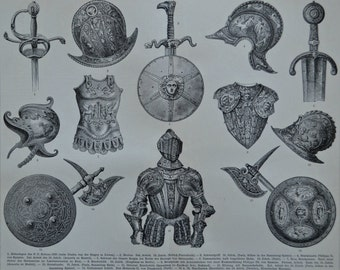 Antiques armours, shields and  arms print. Old book plate, 1897. Antique illustration. 118 years lithograph. 9'6 x 11'7 inches.