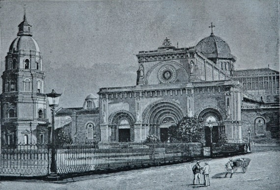 Manila cathedral. Architecture engraving. 1890 book plate. 124 years lithograph. 12'5 x 8'4 inches.