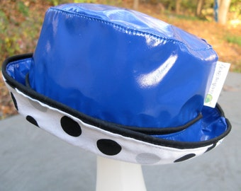 Baby Toddler Rain Hat, Royal Blue Rain Hat for Baby, 12-24 months Polka Dotted Lining