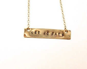 Set No Path Necklace, Set No Path Affirmation Bar, Gold Bar Necklace, Mantra Necklace
