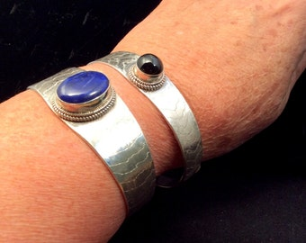 Blue Lapis or Black Star Heavy Sterling Silver Cuff Bracelet. Etched to a Matte Finish. Signed and Dated. free US ship
