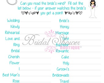 Mind Reader/ What is the Bride Thinking? Bridal Shower Game TURQUOISE -Fun, Detailed, & Cute!
