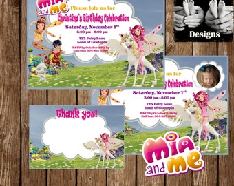 MIA and ME INVITATION Personalized Birthday Printable With or Without Photo with 4x6 Thank You Card