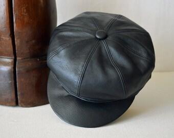 Vintage Style Black Leather Newsboy Cap - Genuine Leather Eight Piece Handmade Bakerboy / Newsboy / Apple / Flat Cap - Men Women