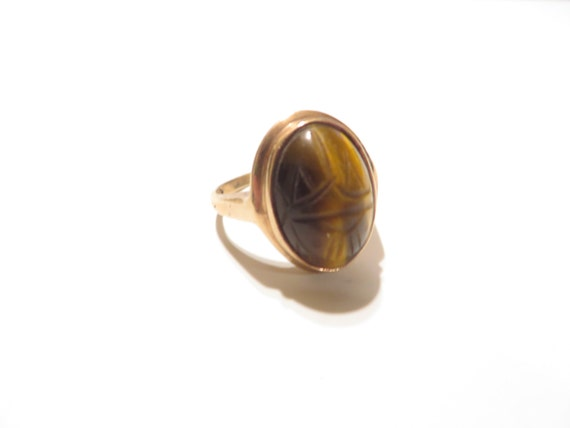 vintage 10k solid gold tiger eye scarab ring by