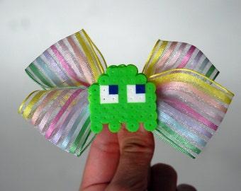 SALE PacMan Green Ghost Hair Bow - Clearance Discontinued Geek Hair Barrette - Video Game Hair Accessory - Pac Man Perler - LAST CHANCE