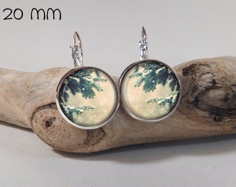 Earring winter pine 20mm round glass and metal