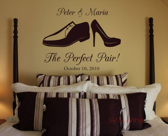 The Perfect Pair Wall Decal for Wedding Anniversary Gift Personalized Name and Wedding Date Vinyl Decor