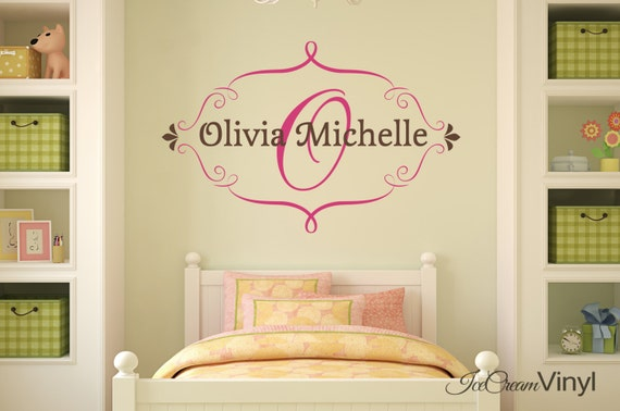 Girl Name Wall Decal Personalized for Girls Nursery Bedroom Children Decor