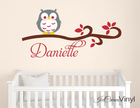 Name Wall Decal with Owl Bird for Girls Boys Nursery Playroom Bedroom Vinyl Childrens Decor