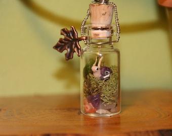 Miniature (Purple) Woodland Snail Living Terrarium Necklace