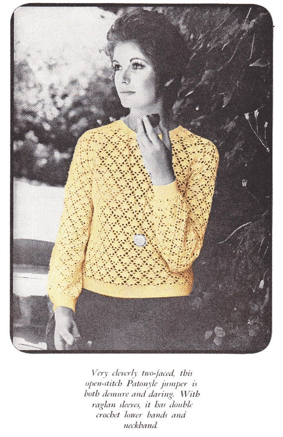 Crochet Patterns Jumper : Crochet Pattern Sweater Jumper Pattern INSTANT DOWNLOAD PDF 1970s ...