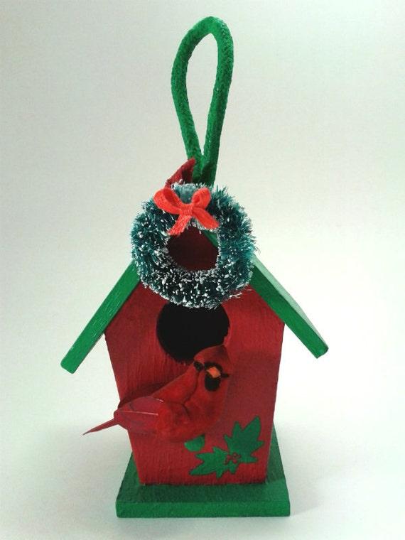 Christmas Birdhouse Ornament With Wreath by EnchantedSongbird
