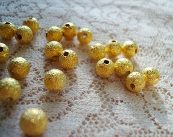 Promotion! 4mm Gold Stardust Spacers. 100pcs. Sparkling, Gold Plated BRASS Ball Spacers.   ~USPS Standard Ship Rates from Oregon