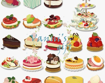 45 Dessert Cake Sweets Digital Download Scrapbooking Clip Art b27