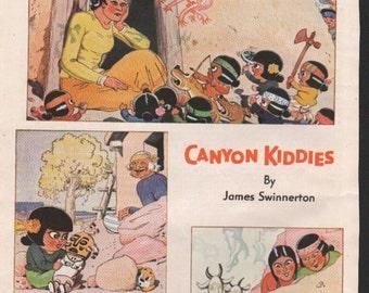 "Original Good Housekeeping cartoon ""Canyon Kiddies"" by James Swinnerton 1930s, 8x11 in. - Kids 669"
