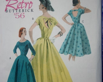 Retro Dress Pattern Butterick #5605, reprint of vintage Pattern from 1956. Sizes 8-14. cinched waist Dress with Flared Skirt