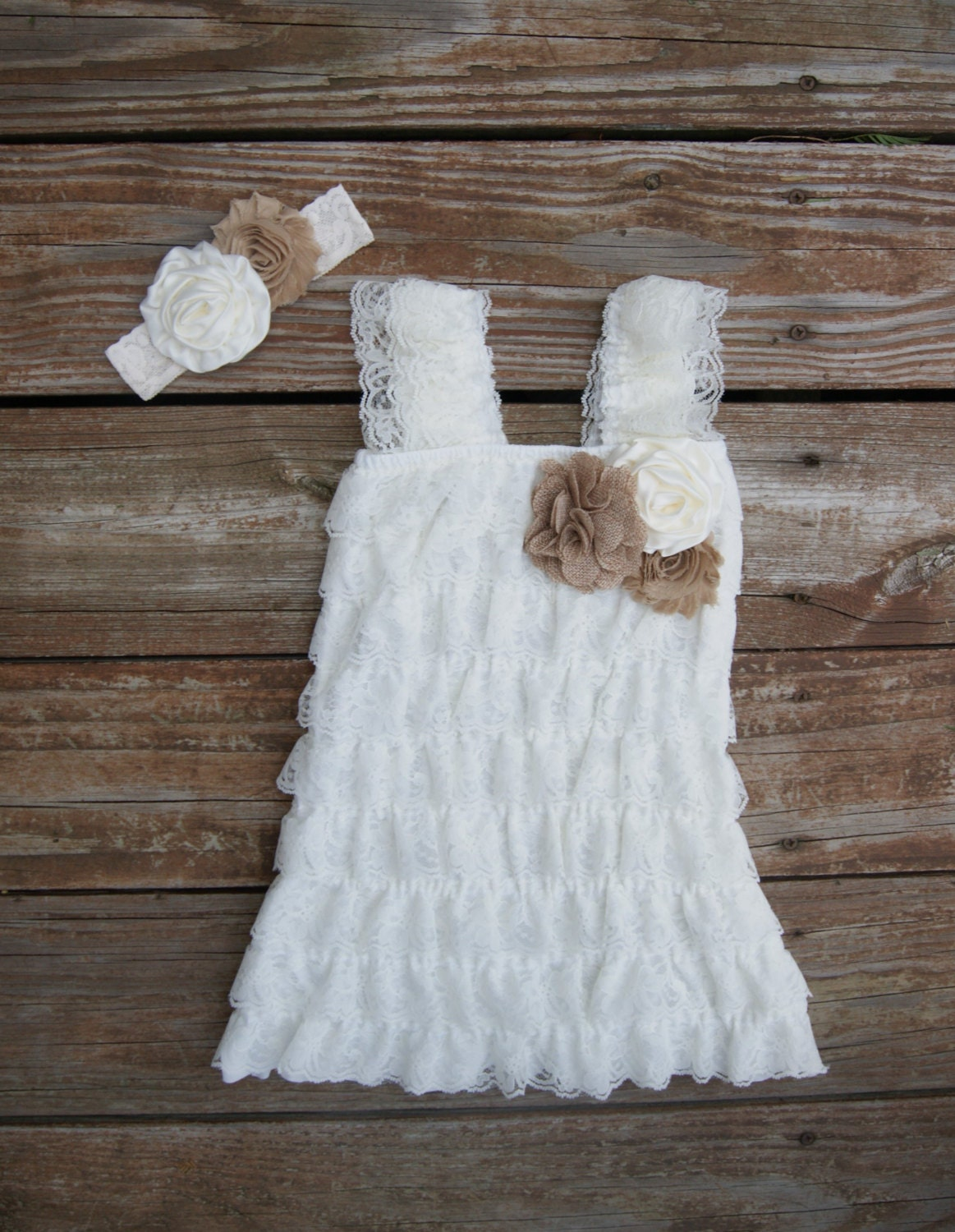 Lace rustic flower girl dress Ivory lace dress Lace toddler