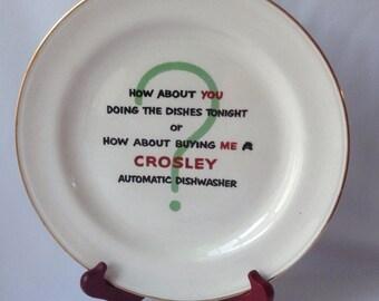 Crosley Automatic Dishwasher Nautilus Plate, Crosley Advertising Plate