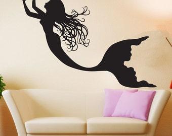 Mermaid Wall Art mermaid wall decals | etsy