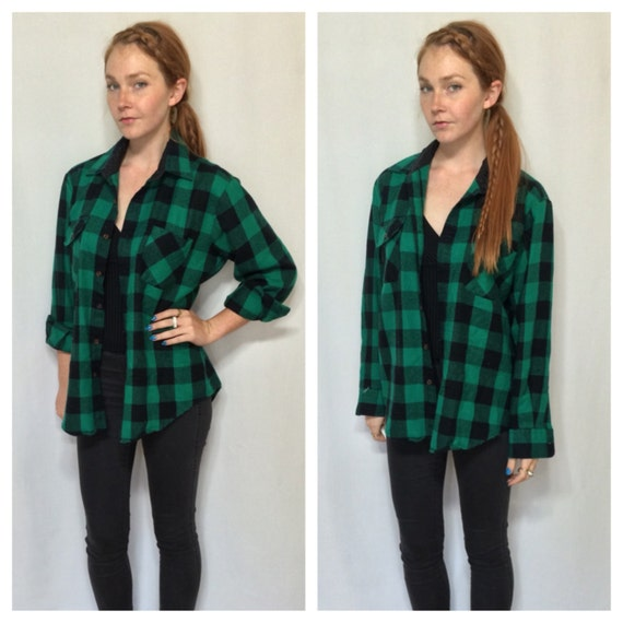 80s green black buffalo plaid checkered flannel mens medium for Womens green checked shirt