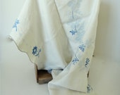 """Vintage Linen Tablecloth 48""""x48""""  Embroidery Craft Project Blue Crossstitch"""