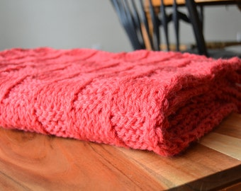 "SALE!!! Red 100% Wool Afghan, Ready to ship! Wool hand knit Throw Blanket/ Red Afghan/ Bed Blanket 40"" x 60"" inches"