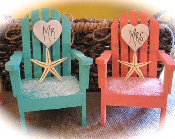 Personalized Beach/Destination Theme Starfish Adirondack Chair Wedding Cake Topper in Choice of 5 Colors