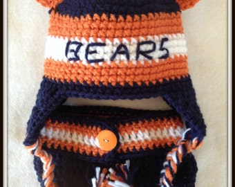 Baby Shower Gift Chicago Football Bears Crochet Baby Hat Baby shower Gift Baby Photo Prop Baby Shower