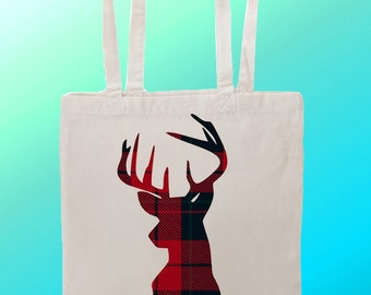 Tartan Deer Stag  - Reuseable Shopping Cotton Canvas Tote Bag