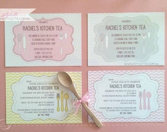 Kitchen tea invitation - Qty 20 PRINTED invites - Chevron pattern with cutlery - Spoon, fork, rolling pin and more! Bridal shower :)
