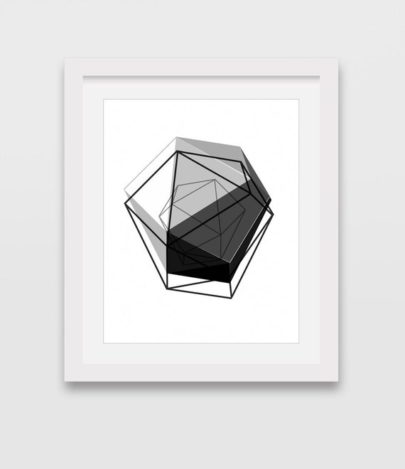 Black Geometric Print 3d Art Geometric Wall Art Home Decor
