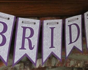 bride banner purple bridal shower banner purple wedding shower banner purple vintage bride banner shabby chic