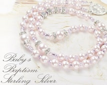 Baby Girl Baptism Rosary Personalized Rosary Sterling Silver Letters & Swarovski Pink Pearls Girl Baptism Gift Catholic Baptism Gift