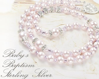 Baby Girl Baptism Rosary or Communion Personalized Rosary with Sterling 925 Silver Letters & Swarovski Pink Pearls Girl Baptism Gift