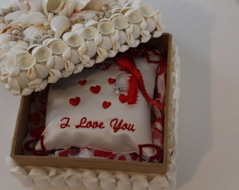 Lot # V925 Keepsake Coastal White Sea Shell Proposal Box - Will You marry Me Box - You are the One- FOREVER Box