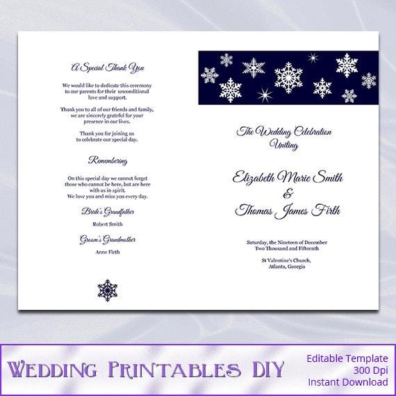 Winter Wedding Program Template - Diy Snowflake Navy Blue Printable ...