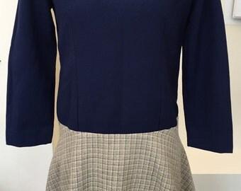 1960s Pointed Collar Drop Waist Mod Dress XS