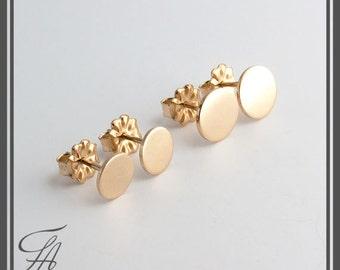Minimalist Earrings,Flat Earrings,Disc Earrings,Dot Earrings,Post Earrings,Stud Earrings,Gold Earrings,Handmade Earrings,Gift Earrings,6mm