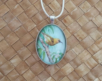 Hawaiian bird Akiapola'au watercolor oval glass pendant & snake chain.