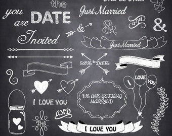"Chalkboard Wedding Clipart ""CHALKBOARD WEDDING ""clip art,wedding font,banner clipart,save the date,Wedding,invitation Instant Download Wf050"