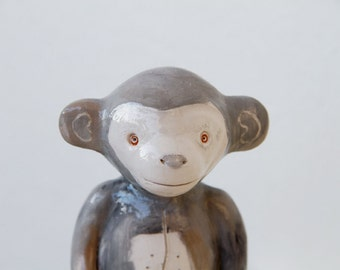 Grey Monkey -  Pop Toys collection  - ceramic animal