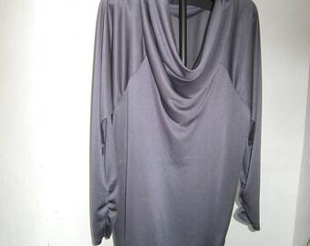 elegant grey Shirt - Shirt Size XL - Plus Size Clothing - longsleeves Shirt - Jerseyshirt