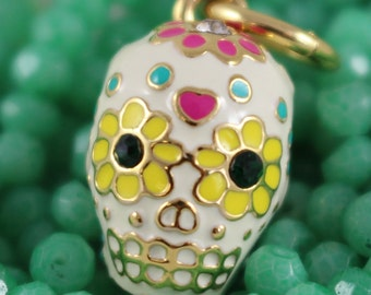 Day of the Dead Sugar Skull Charm / Pendant - Gold, Colorful Enamel & Crystals